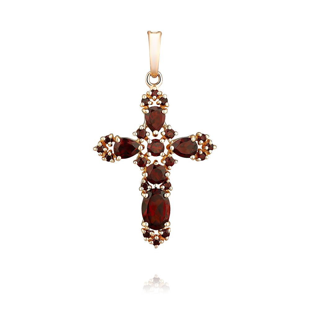 Купить Крест из красного золота 585 пробы с гранатом, Другие, Красный, Для женщин, 3357155/01-А50-655