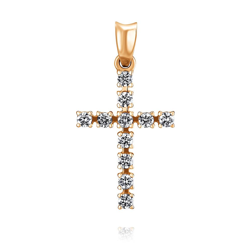Купить Крест из красного золота 585 пробы с бриллиантом, Другие, Красный, Для женщин, 3357234/01-А50Д-41