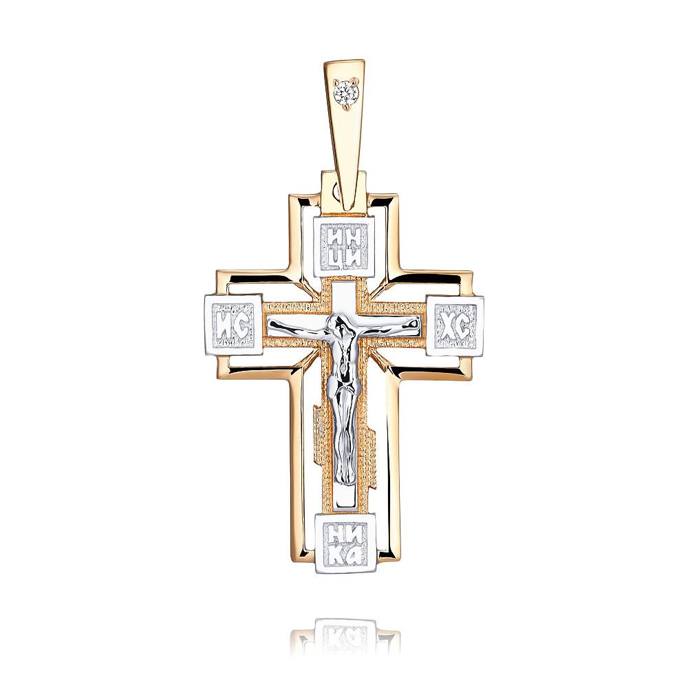 Купить со скидкой Крест из красного золота 585 пробы с фианитом