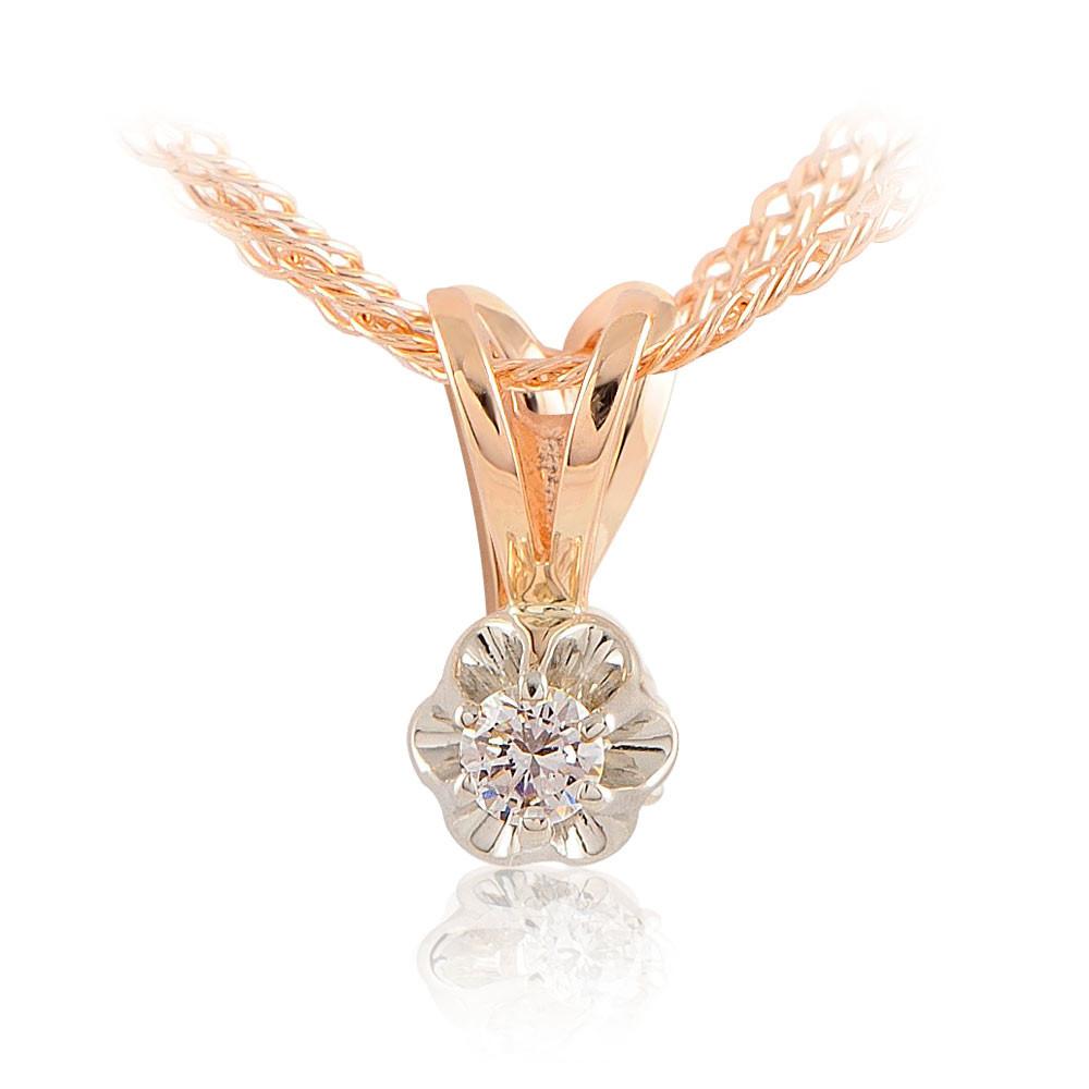 Купить Подвеска из красного золота 585 пробы с бриллиантом, АДАМАС, Красный, Для женщин, 3400818-А50-41
