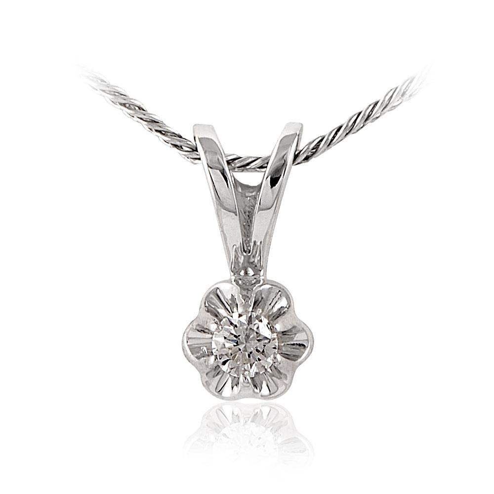Купить Подвеска из белого золота 585 пробы с бриллиантом, АДАМАС, Белый, Для женщин, 3400818-А51-41