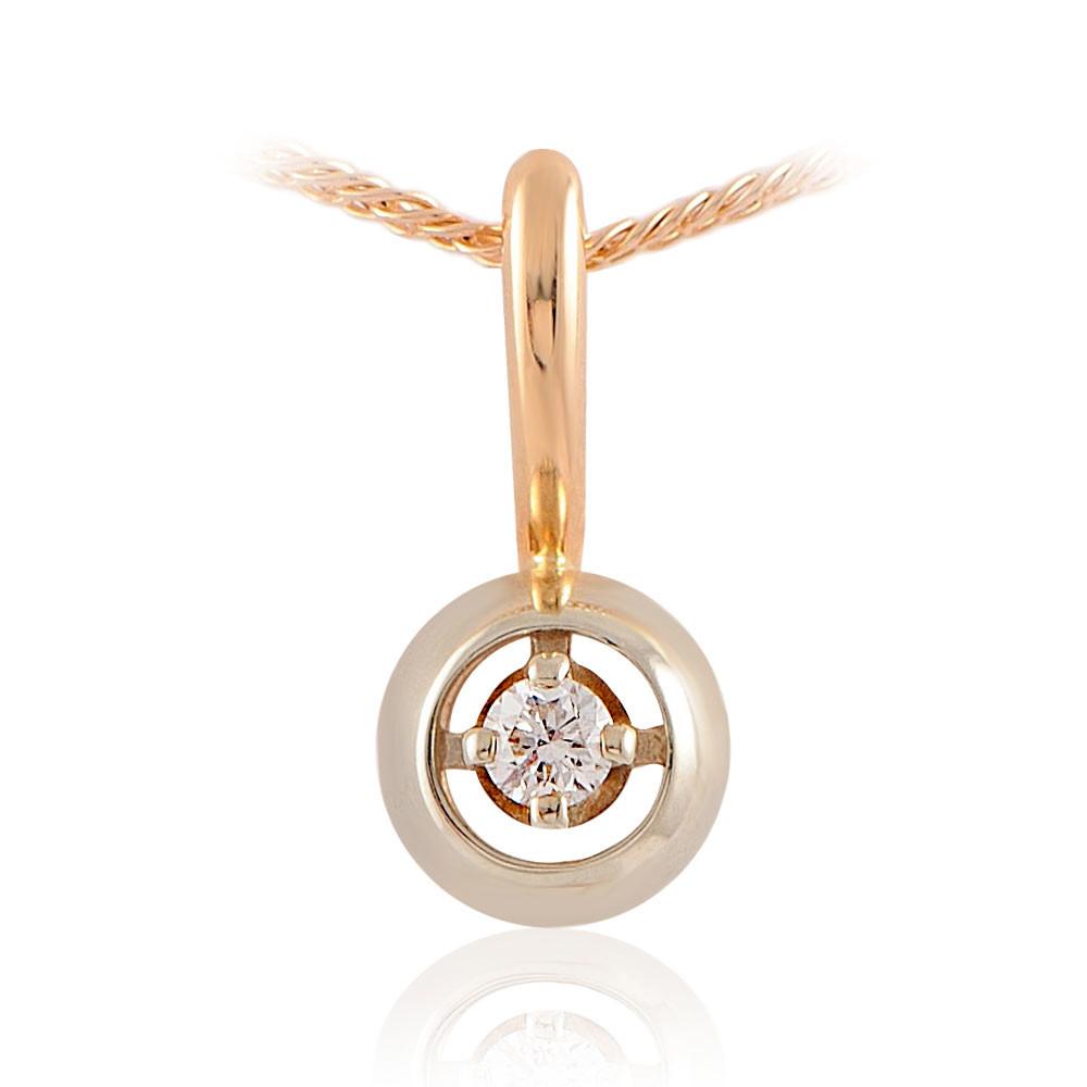 Купить со скидкой Подвеска из красного золота 585 пробы с бриллиантом