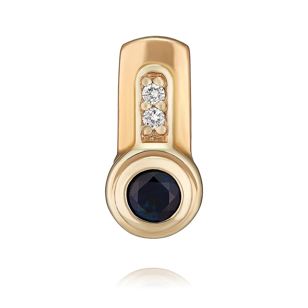 Купить Подвеска из красного золота 585 пробы с бриллиантом, сапфиром, АДАМАС, Красный, 3410882-А50-432