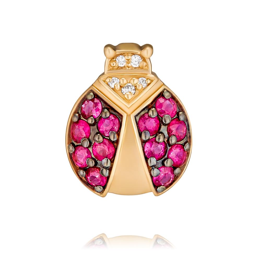 Купить Подвеска из красного золота 585 пробы с бриллиантом, рубином, АДАМАС, Красный, 3417115-А500Ч-431