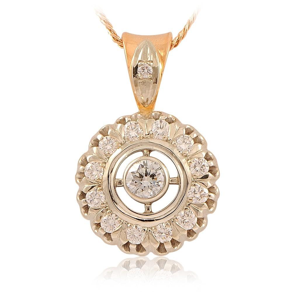 Купить Подвеска из красного золота 585 пробы с бриллиантом, Другие, Красный, Для женщин, 3417660/01-А501-41