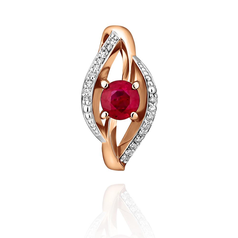 Купить Подвеска из красного золота 585 пробы с бриллиантом, рубином, АДАМАС, Красный, 3417842-А500Д-431