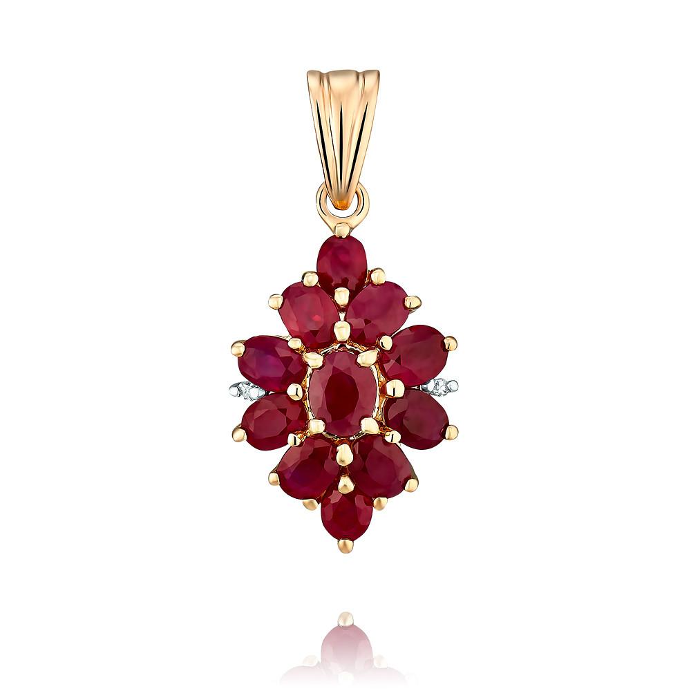 Купить Подвеска из красного золота 585 пробы с бриллиантом, рубином, Другие, Красный, Для женщин, 3431492/01-А50-431