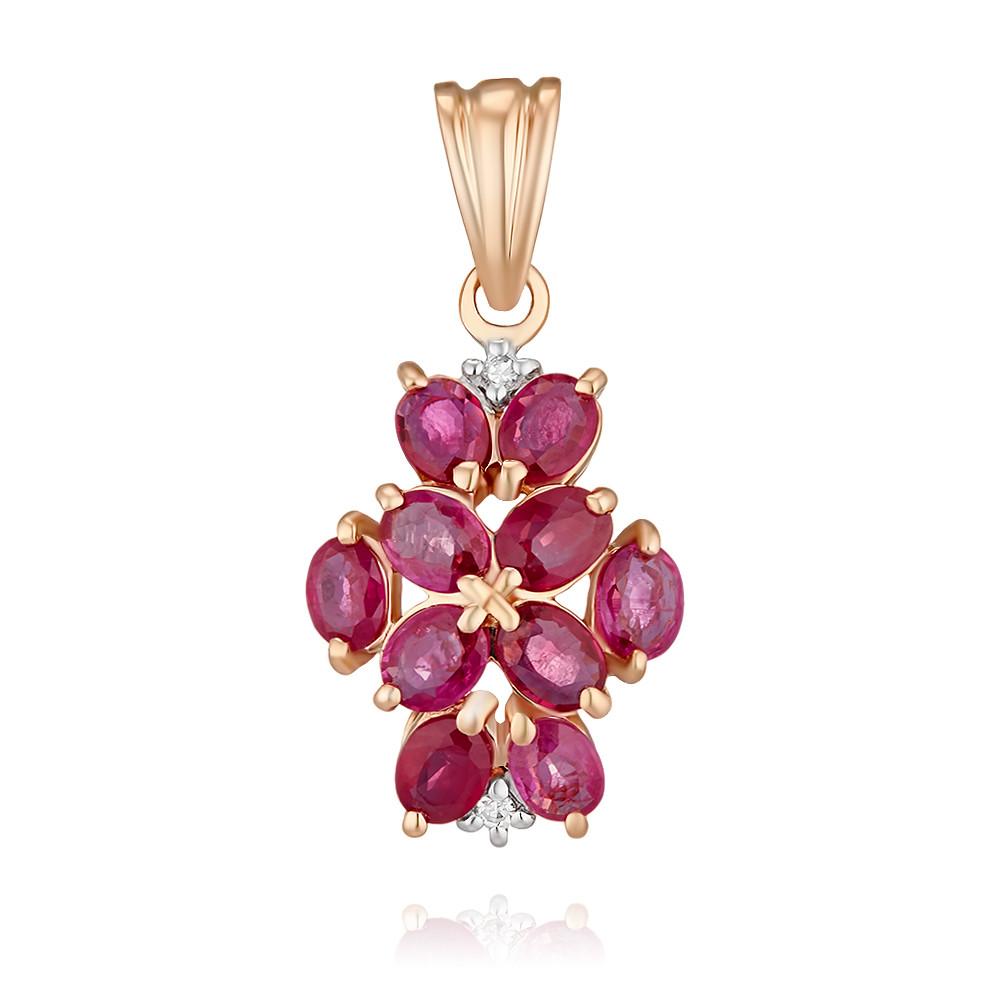 Купить Подвеска из красного золота 585 пробы с бриллиантом, рубином, Другие, Красный, Для женщин, 3438563/01-А50-431