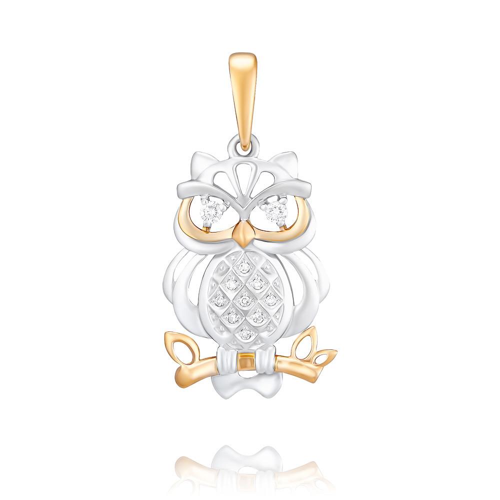 Купить Подвеска из красного золота 585 пробы с бриллиантом, Другие, Красный, Для женщин, 3450833/02-А501Д-41