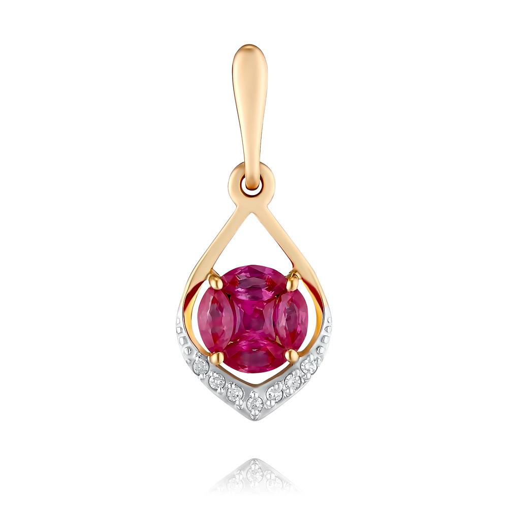 Подвеска из красного золота 585 пробы с бриллиантом, рубином