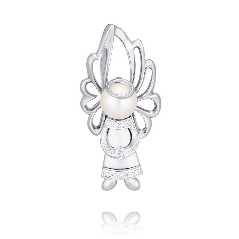 Купить Подвеска из белого золота 585 пробы с бриллиантом, жемчугом, Другие, Белый, Для женщин, 3454496/01-А511Д-448