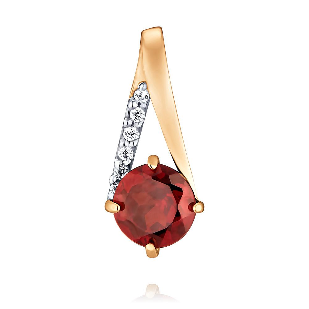 Купить Подвеска из красного золота 585 пробы с гранатом, Другие, Красный, Для женщин, 3455974/01-А50Д-655