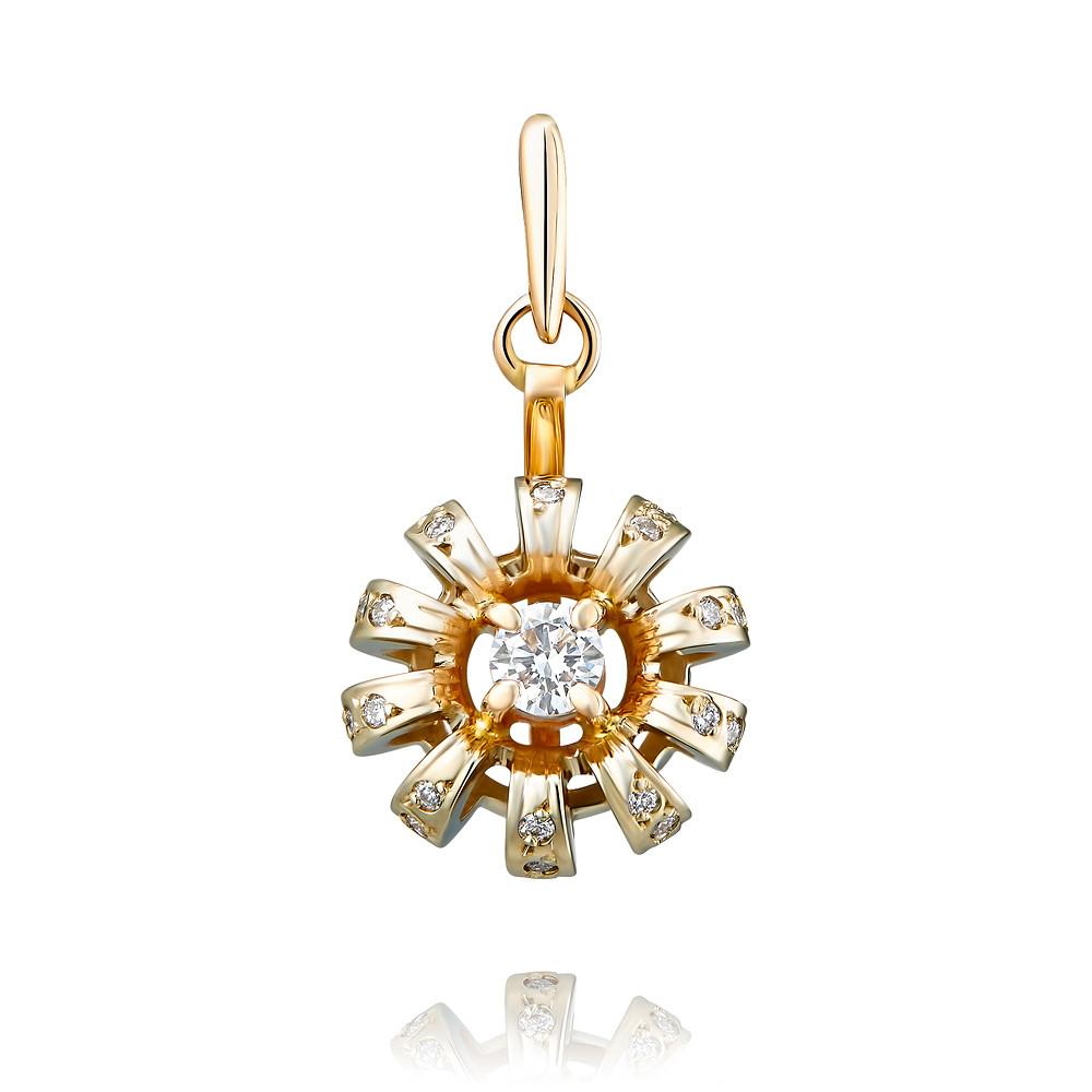 Купить Подвеска из красного золота 585 пробы с бриллиантом, Другие, Красный, Для женщин, 3456555/01-А501Д-41