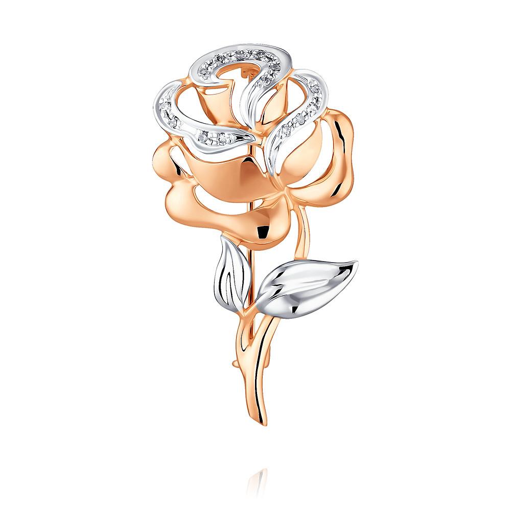 Купить Брошь из красного золота 585 пробы с бриллиантом, SOKOLOV, Красный, Для женщин, 6452082/01-А50Д-41