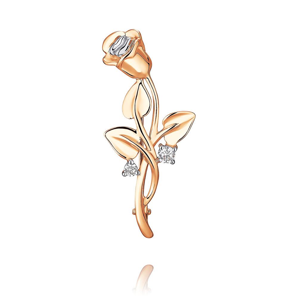 Купить Брошь из красного золота 585 пробы с фианитом, SOKOLOV, Красный, Для женщин, 6456194/01-А50Д-72