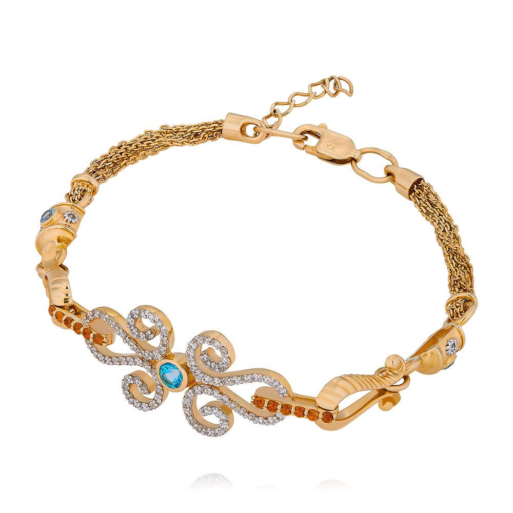 Купить Браслет из желтого золота 585 пробы с бриллиантом, топазом, цитрином, АДАМАС, Желтый, 7116372-А555Д-444
