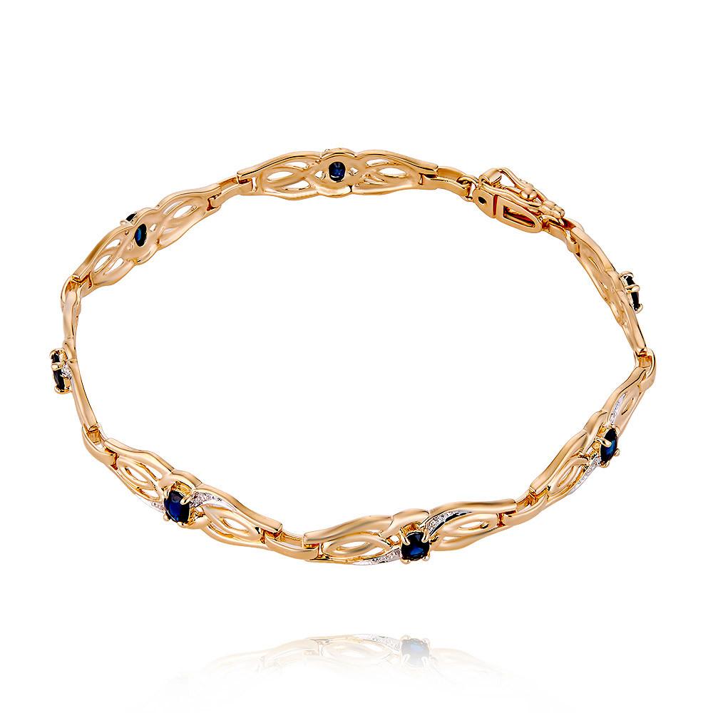 Купить Браслет из красного золота 585 пробы с бриллиантом, сапфиром, Другие, Красный, Для женщин, 7405947/01-А50-432