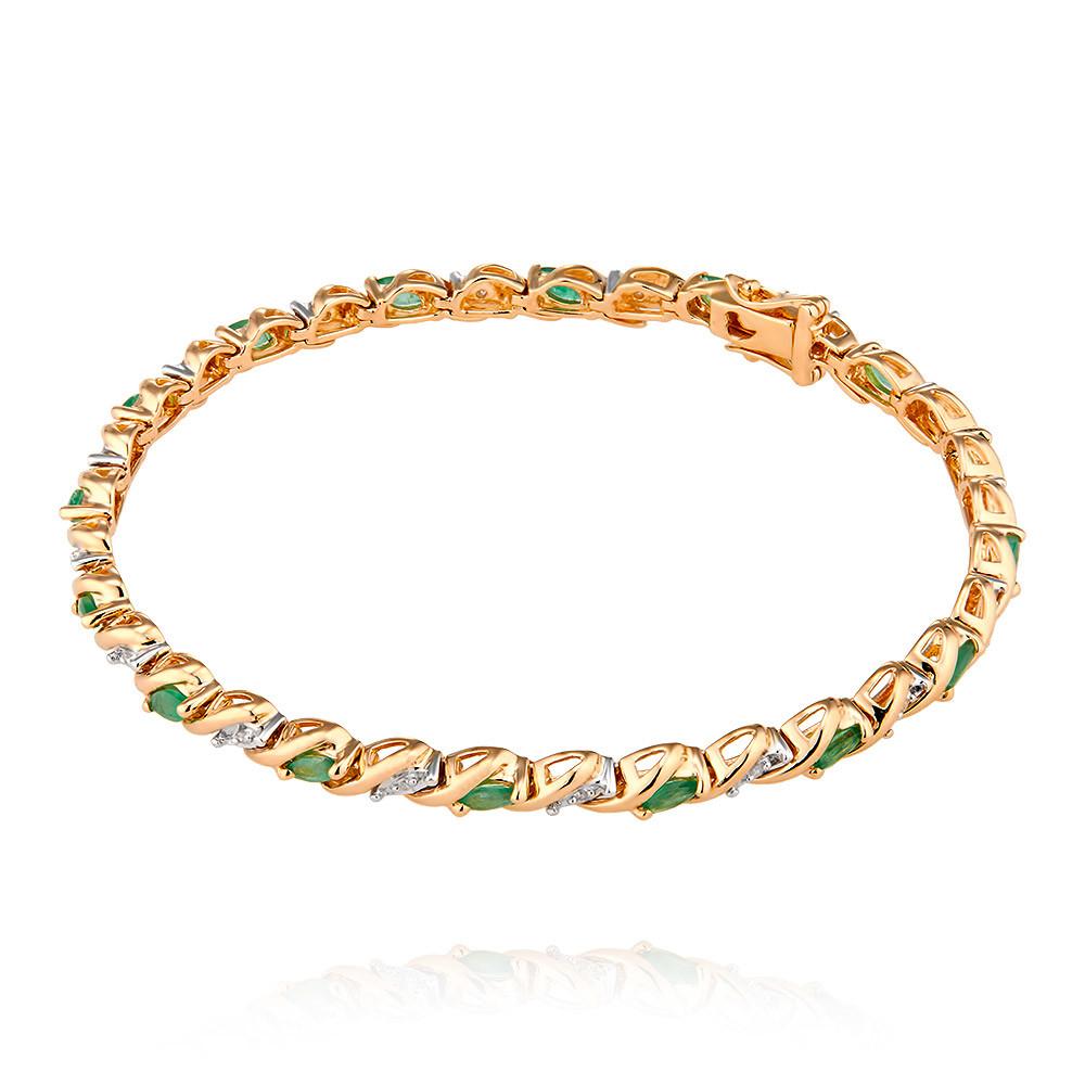 Купить Браслет из красного золота 585 пробы с бриллиантом, изумрудом, Другие, Красный, Для женщин, 7405952/01-А50-433