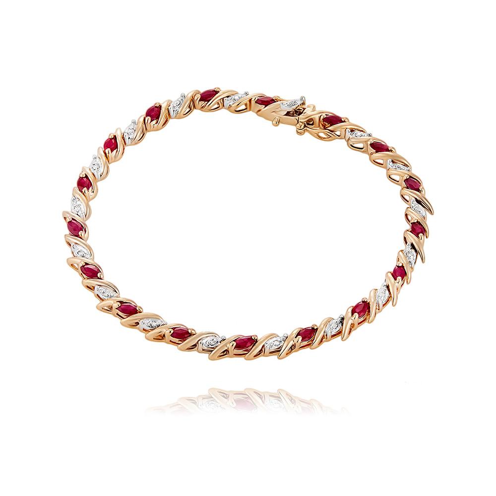Купить со скидкой Браслет из красного золота 585 пробы с бриллиантом, рубином