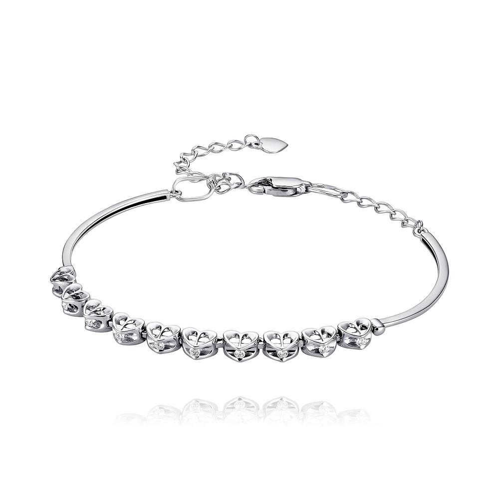 Купить Браслет из белого золота 585 пробы с бриллиантом, АДАМАС, Белый, 7416709-А51Д-41