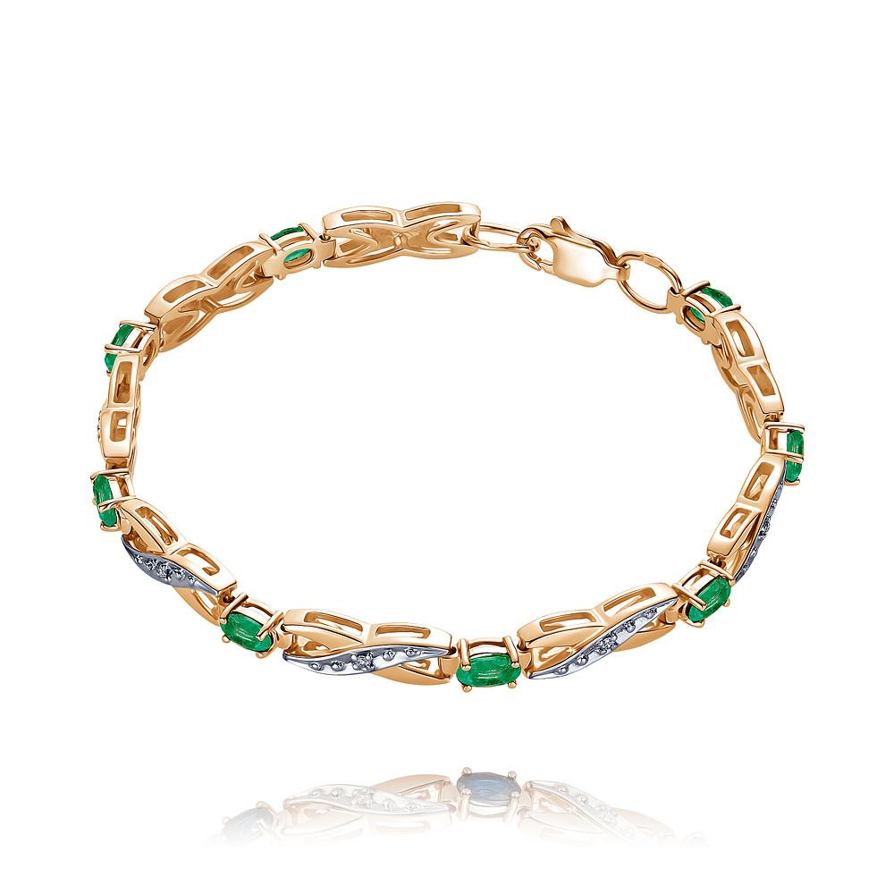 Купить Браслет из красного золота 585 пробы с бриллиантом, изумрудом, АДАМАС, Красный, 7416949-А500Д-433