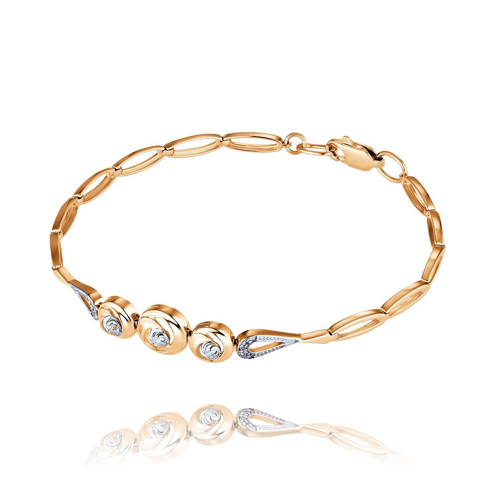 Купить Браслет из красного золота 585 пробы с бриллиантом, АДАМАС, Красный, 7417372-А500Д-41