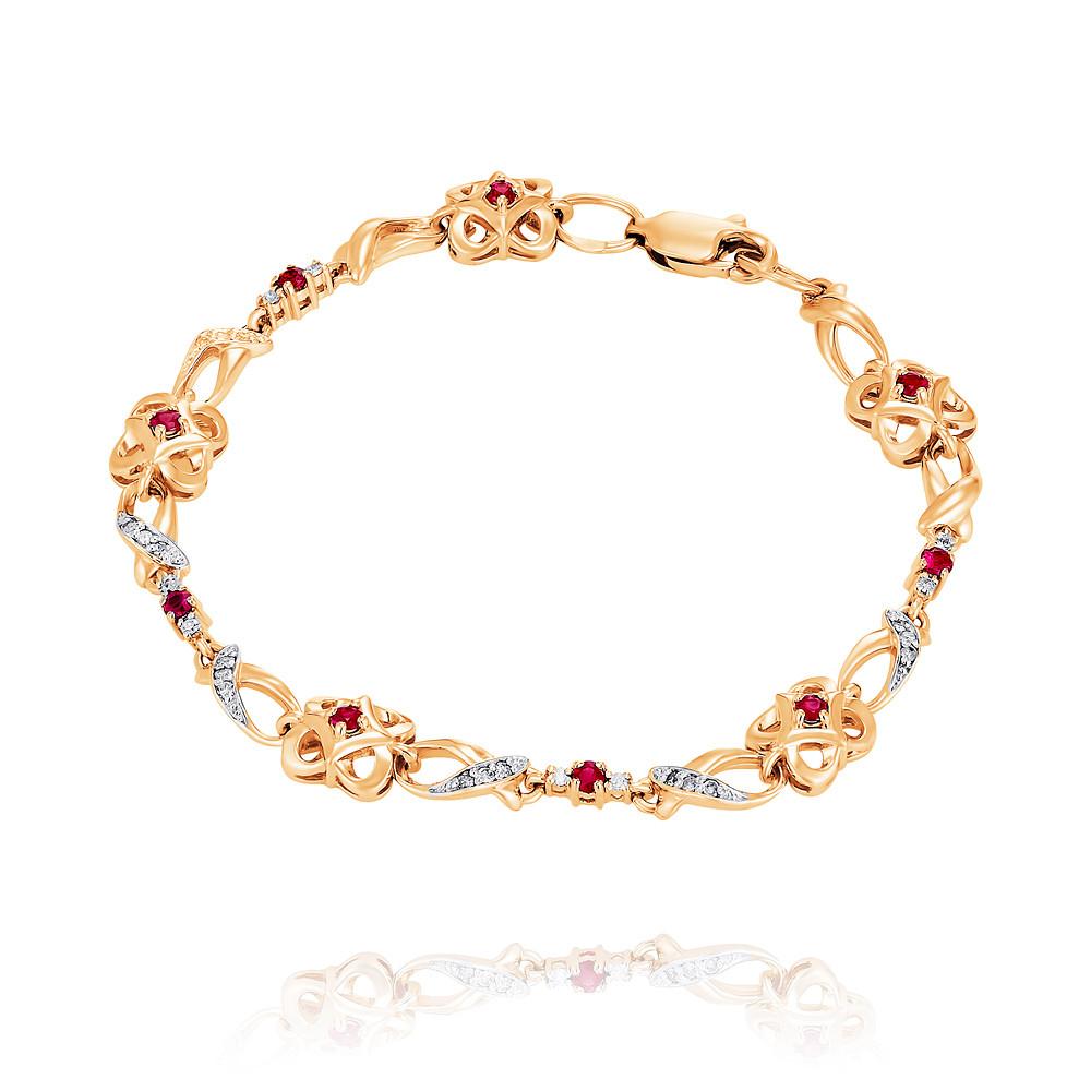 Купить Браслет из красного золота 585 пробы с бриллиантом, рубином, АДАМАС, Красный, 7418007-А500Д-431