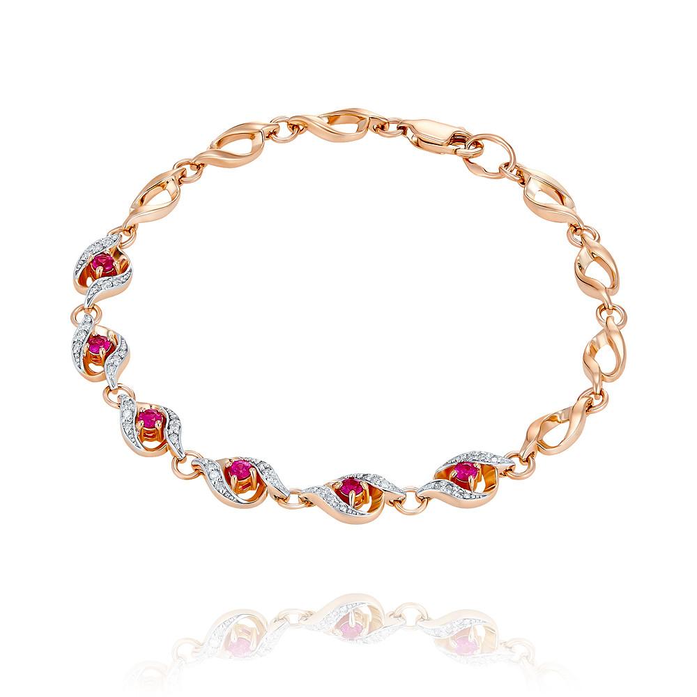 Купить Браслет из красного золота 585 пробы с бриллиантом, рубином, АДАМАС, Красный, 7418008-А500ДЧ-431