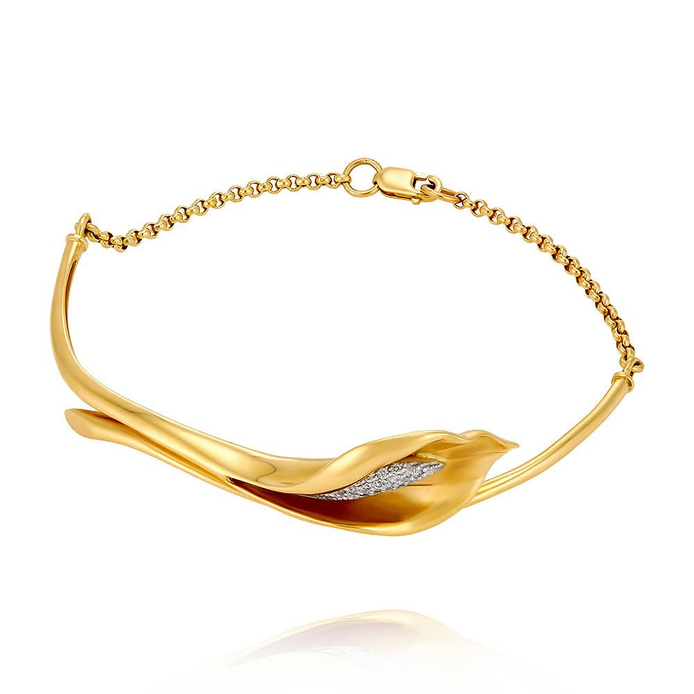 Купить со скидкой Браслет из желтого золота 585 пробы с бриллиантом