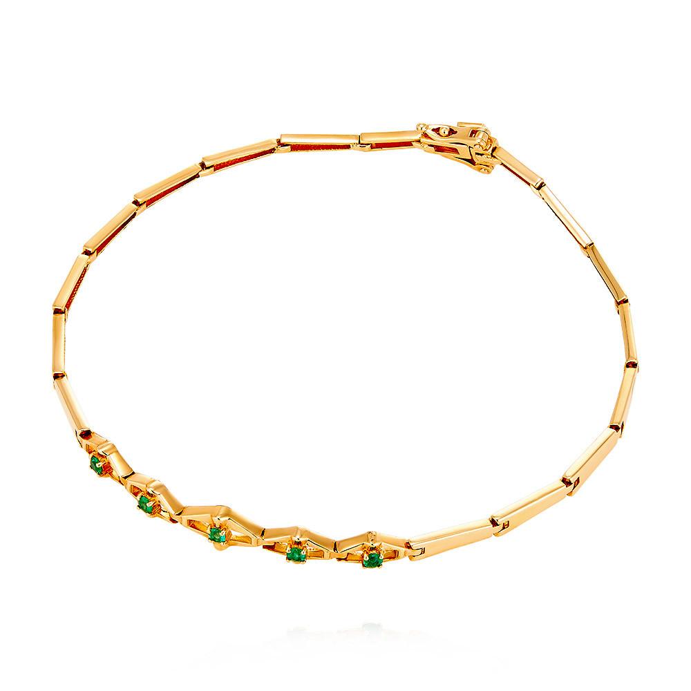 Купить Браслет из красного золота 585 пробы с изумрудом, Другие, Красный, Для женщин, 7445905/02-А50Д-543