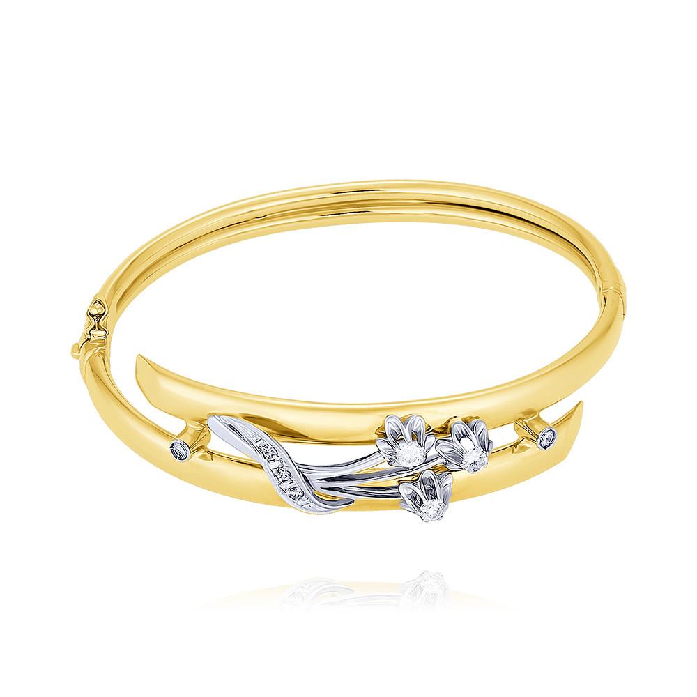 Купить Браслет из желтого золота 585 пробы с бриллиантом, Другие, Желтый, Для женщин, 7446951/01-А55Д-41