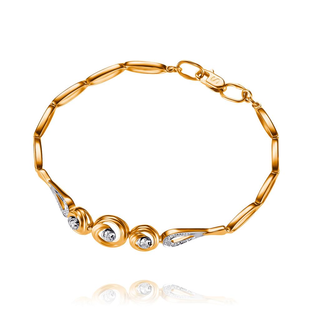 Купить Браслет из красного золота 585 пробы с бриллиантом, SOKOLOV, Красный, Для женщин, 7448246/01-А50Д-41