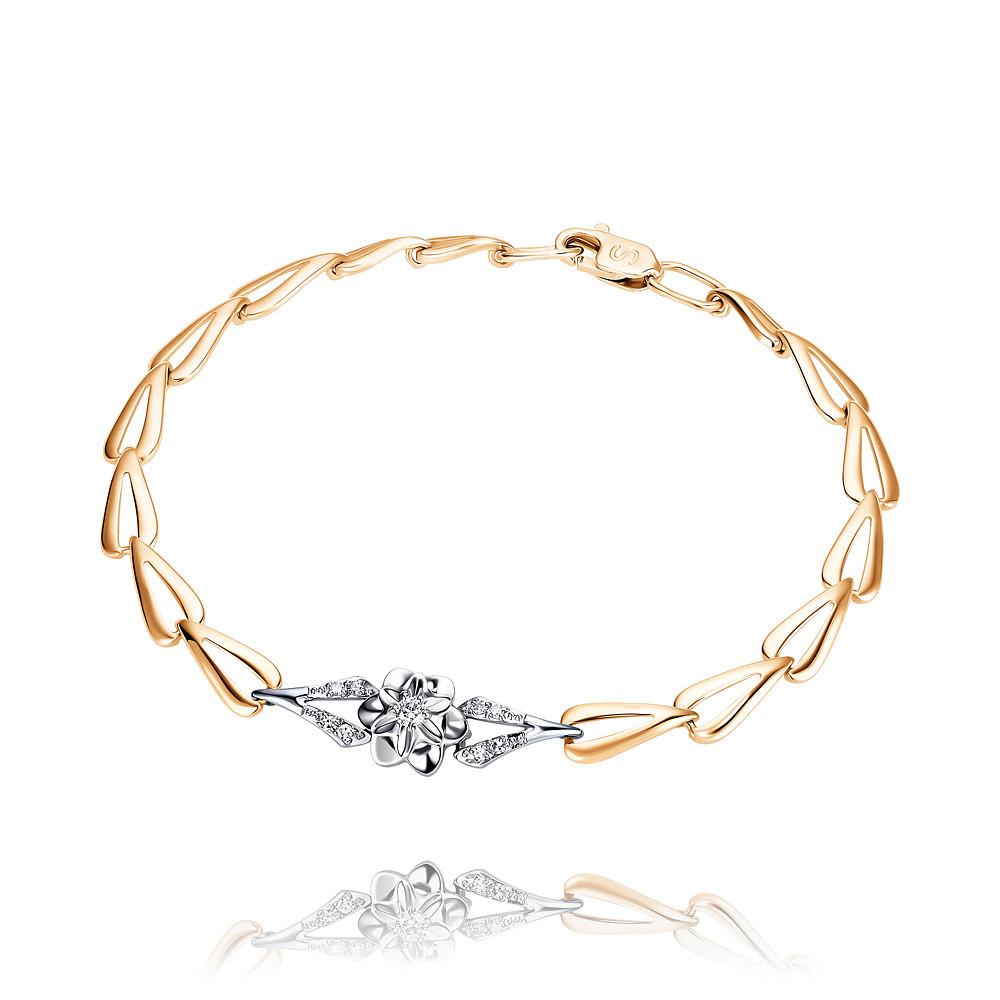 Купить Браслет из красного золота 585 пробы с бриллиантом, SOKOLOV, Красный, Для женщин, 7448479/01-А50Д-41