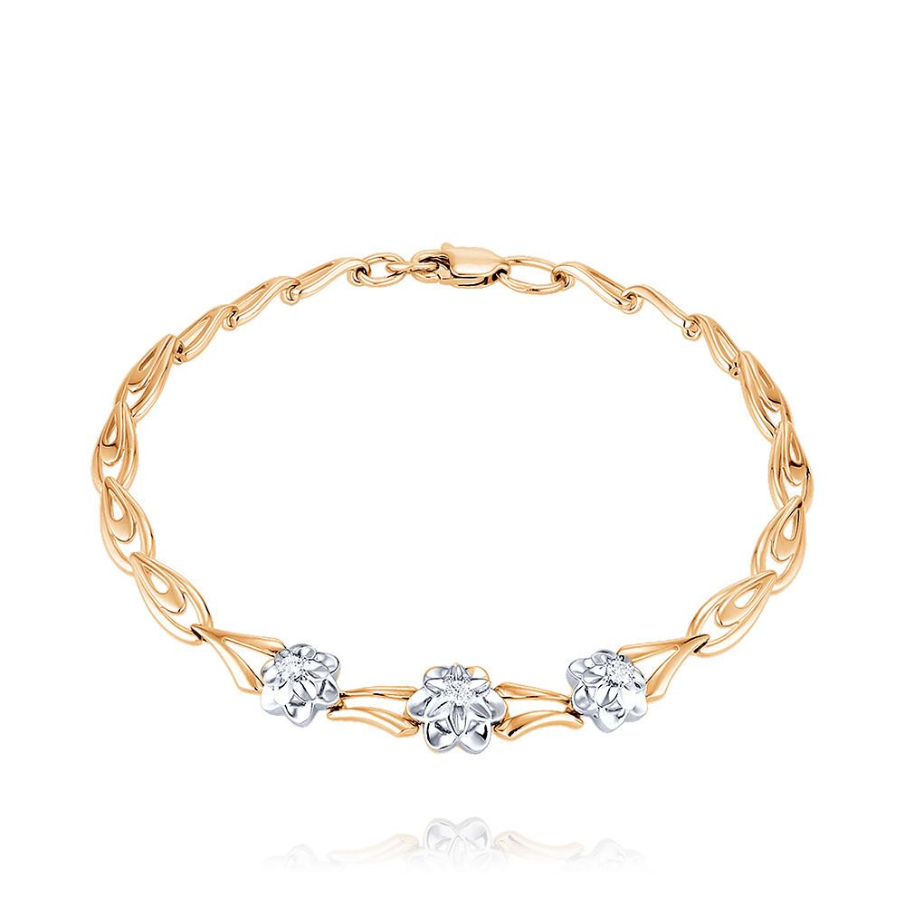 Купить Браслет из красного золота 585 пробы с бриллиантом, SOKOLOV, Красный, Для женщин, 7448480/01-А50Д-41
