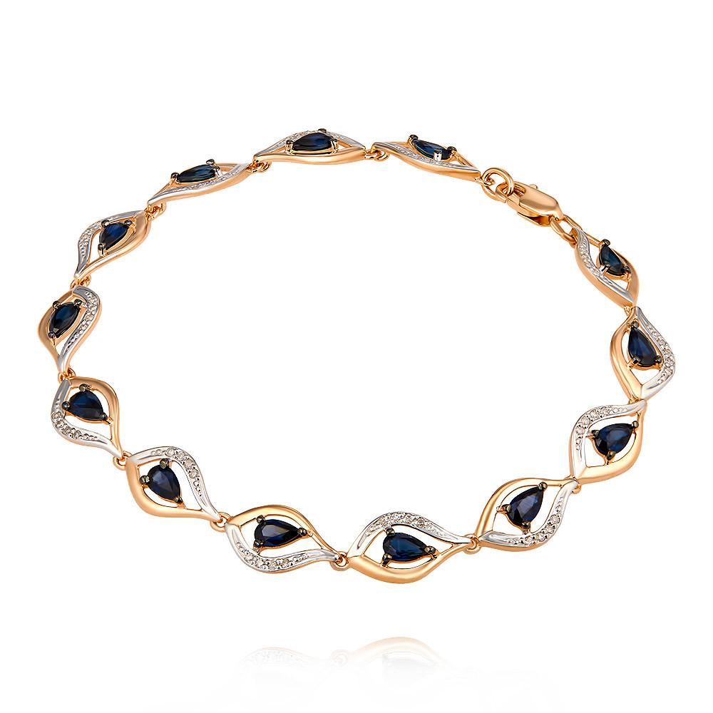 Купить Браслет из красного золота 585 пробы с бриллиантом, сапфиром, SOKOLOV, Красный, Для женщин, 7454644/01-А50Д-432