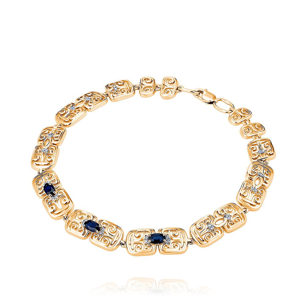 Купить Браслет из красного золота 585 пробы с бриллиантом, сапфиром, Другие, Красный, Для женщин, 7455807/01-А50Д-432
