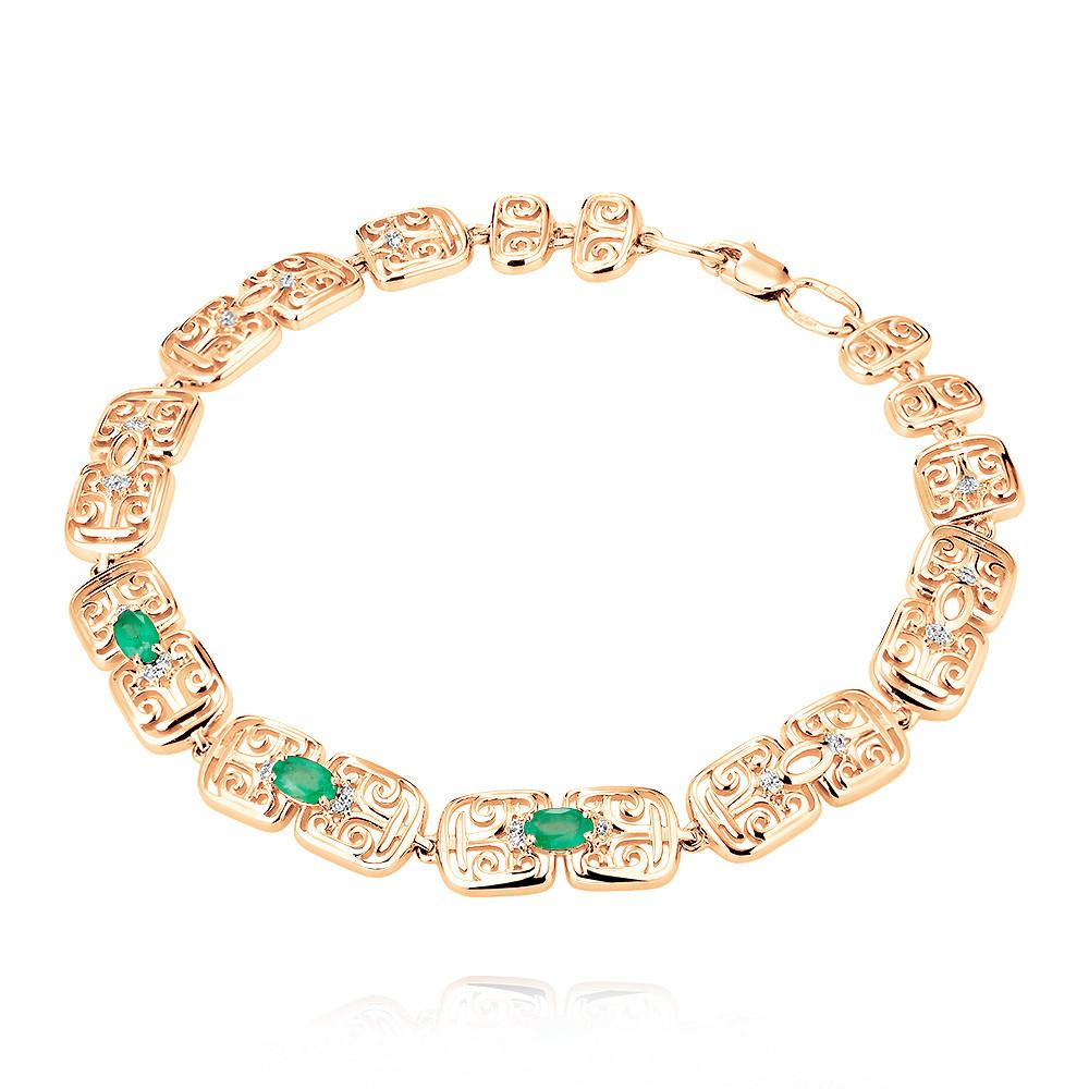 Купить Браслет из красного золота 585 пробы с бриллиантом, изумрудом, Другие, Красный, Для женщин, 7455807/01-А50Д-433