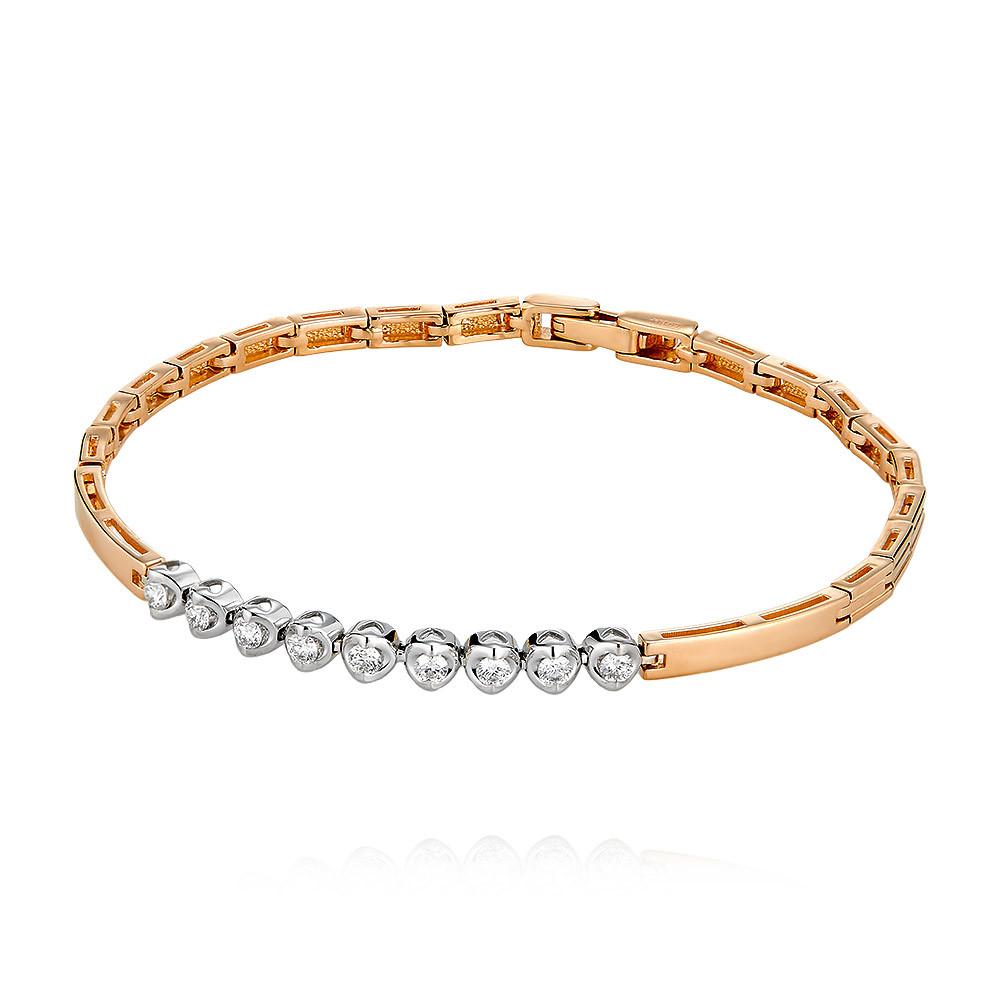 Купить Браслет из красного золота 585 пробы с бриллиантом, Другие, Красный, Для женщин, 7456127/01-А50Д-41