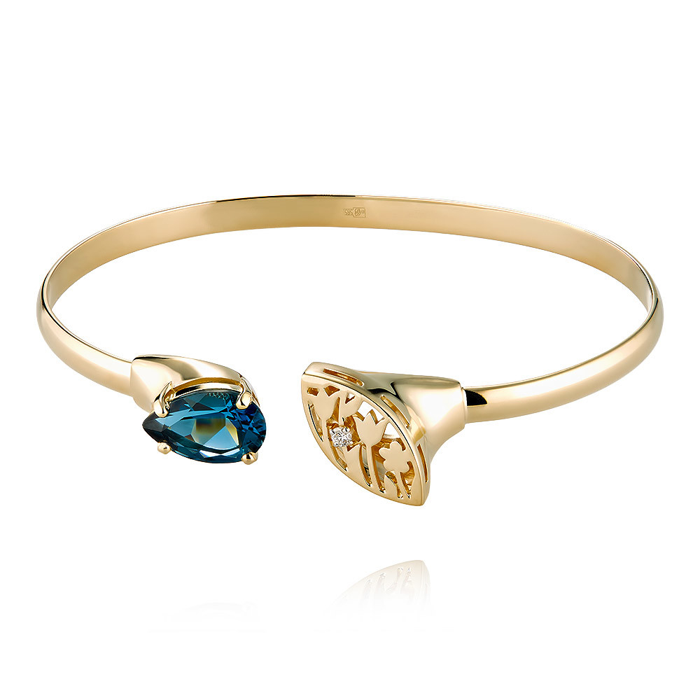 Купить Браслет из желтого золота 585 пробы с бриллиантом, топазом, Другие, Желтый, Для женщин, 7456384/01-А55-460