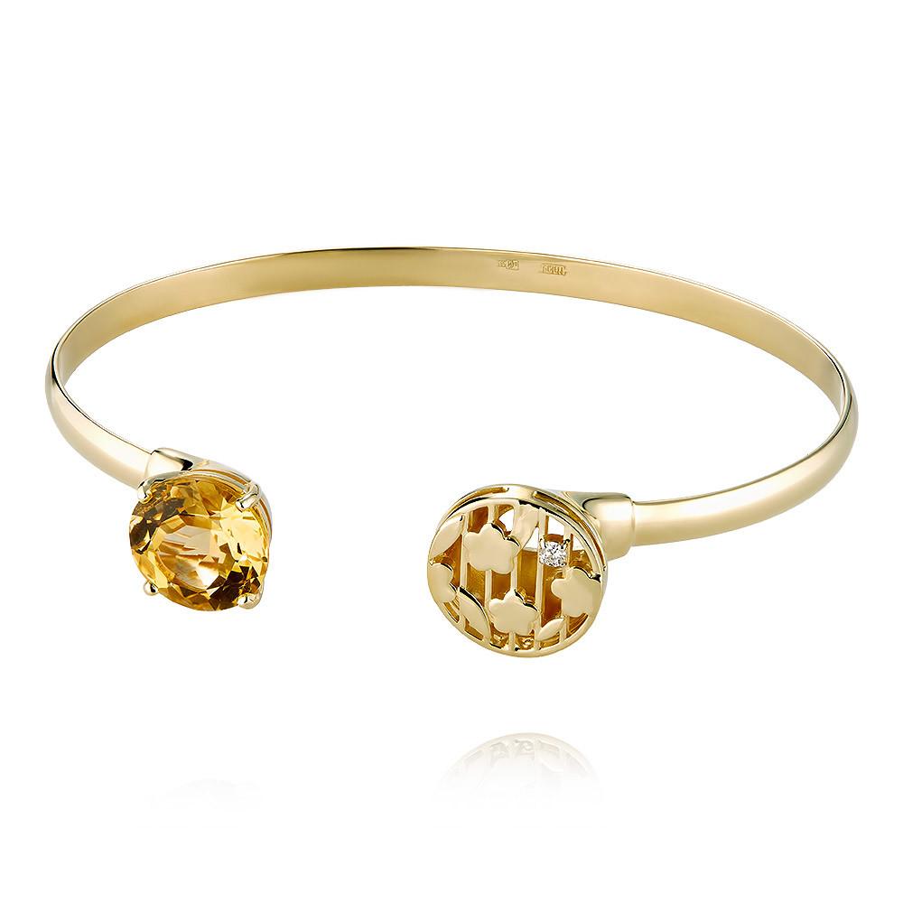 Купить Браслет из желтого золота 585 пробы с бриллиантом, цитрином, Другие, Желтый, Для женщин, 7456385/01-А55-447