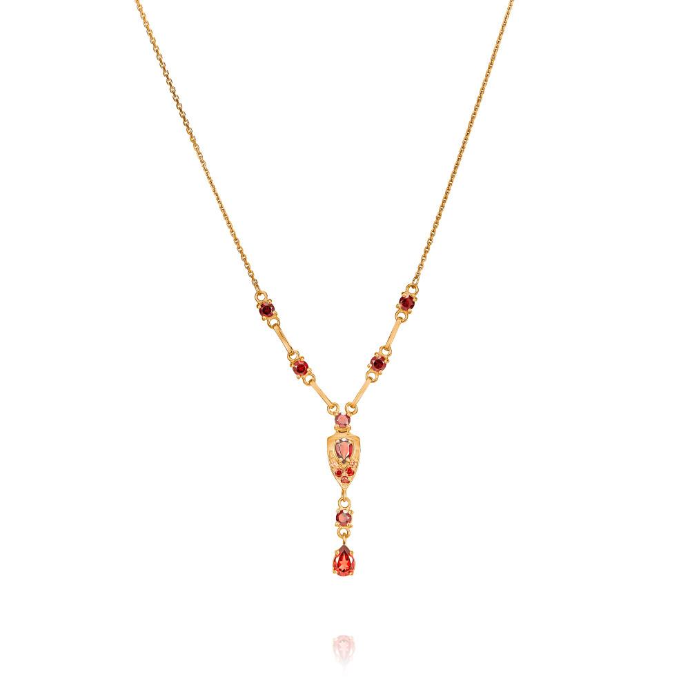 Купить Шейное украшение из красного золота 585 пробы с гранатом, АДАМАС, Красный, Для женщин, 8106458-А500-655