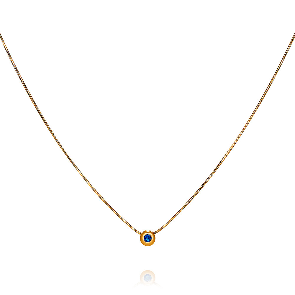 Купить со скидкой Шейное украшение из красного золота 585 пробы с сапфиром