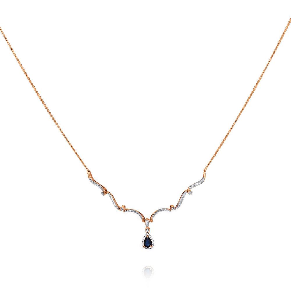 Купить Шейное украшение из красного золота 585 пробы с бриллиантом, сапфиром, АДАМАС, Красный, 8116552-А500Д-432