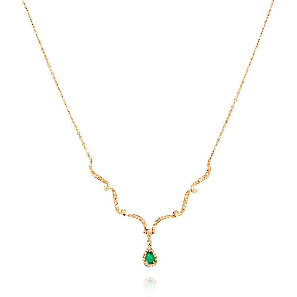 Купить со скидкой Шейное украшение из красного золота 585 пробы с бриллиантом, изумрудом