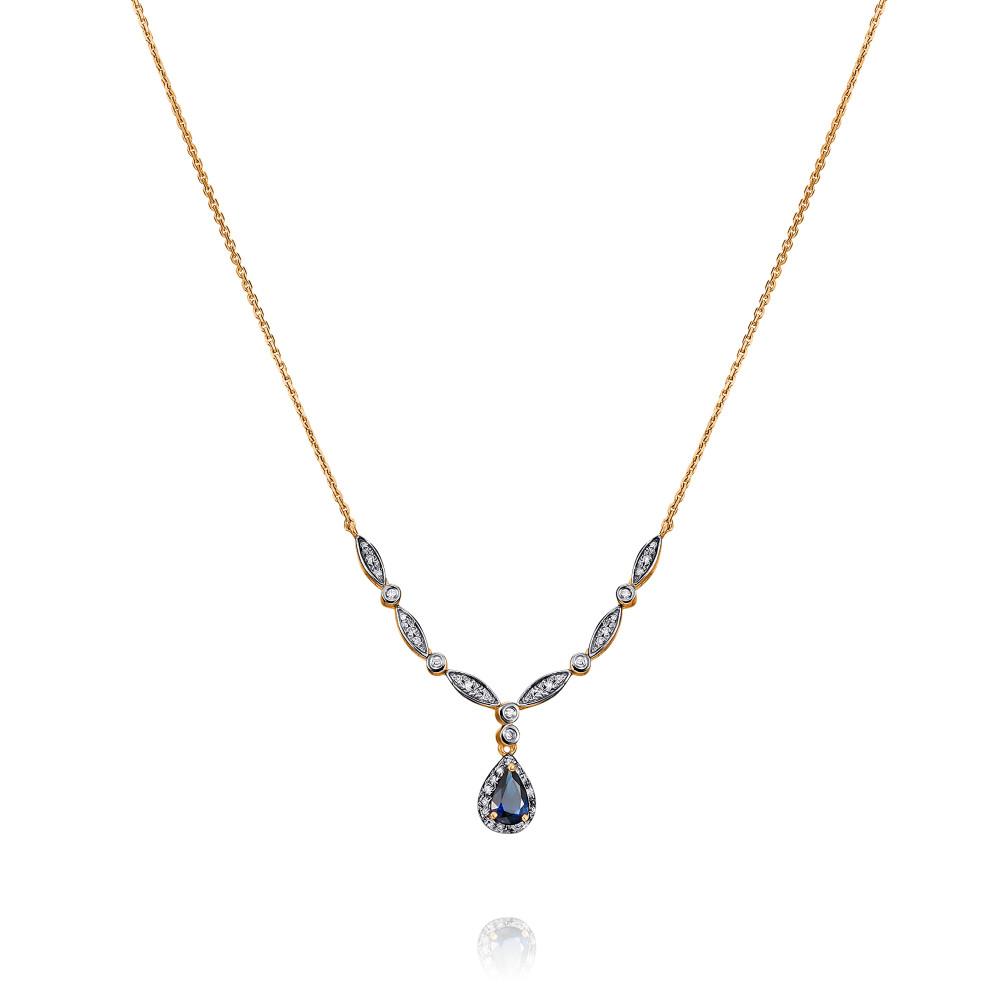 Купить Шейное украшение из красного золота 585 пробы с бриллиантом, сапфиром, АДАМАС, Красный, 8116553-А500Д-432