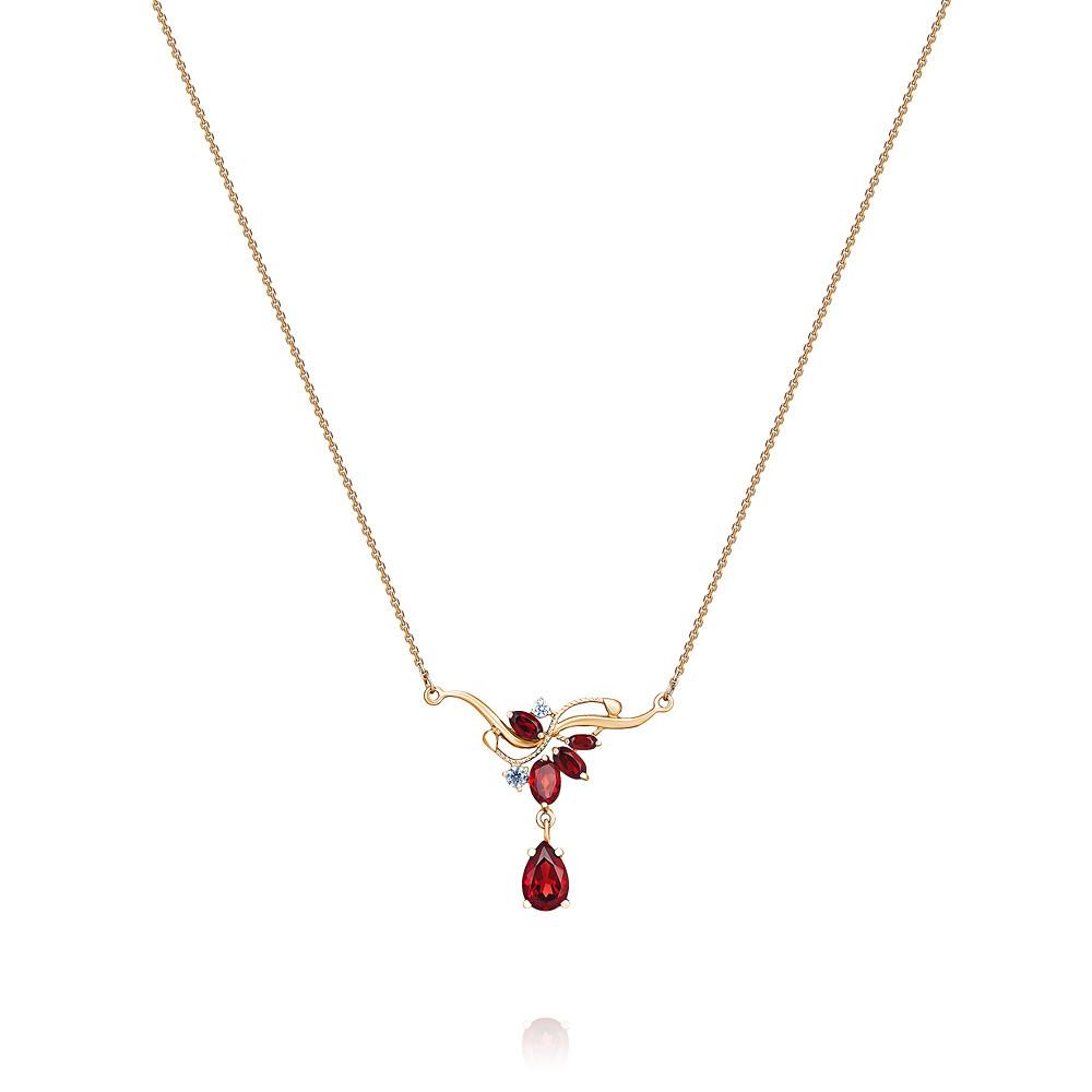 Купить Шейное украшение из красного золота 585 пробы с гранатом, фианитом, АДАМАС, Красный, 8117178-А500-655