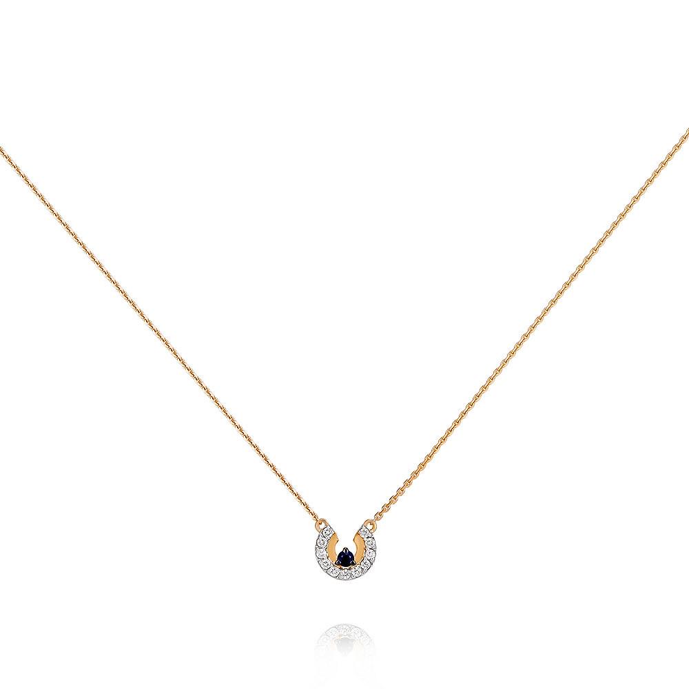 Купить со скидкой Шейное украшение из красного золота 585 пробы с бриллиантом, сапфиром