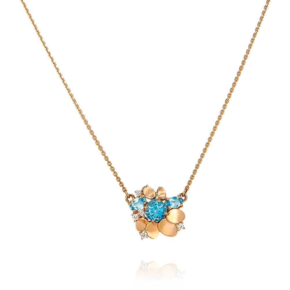 Купить Шейное украшение из красного золота 585 пробы с топазом, фианитом, АДАМАС, Красный, 8118101-А500-659