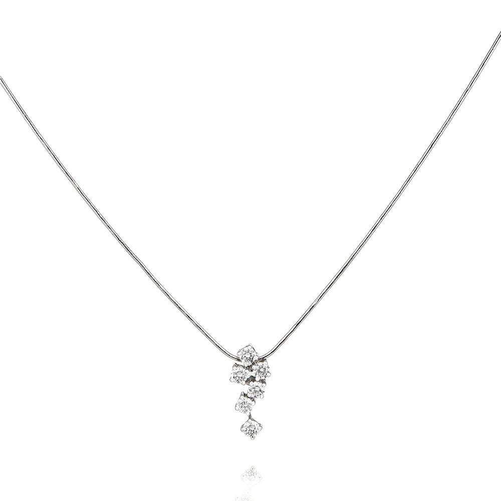 Купить Шейное украшение из белого золота 585 пробы с бриллиантом, Другие, Белый, Для женщин, 8438432/01-А511Д-41