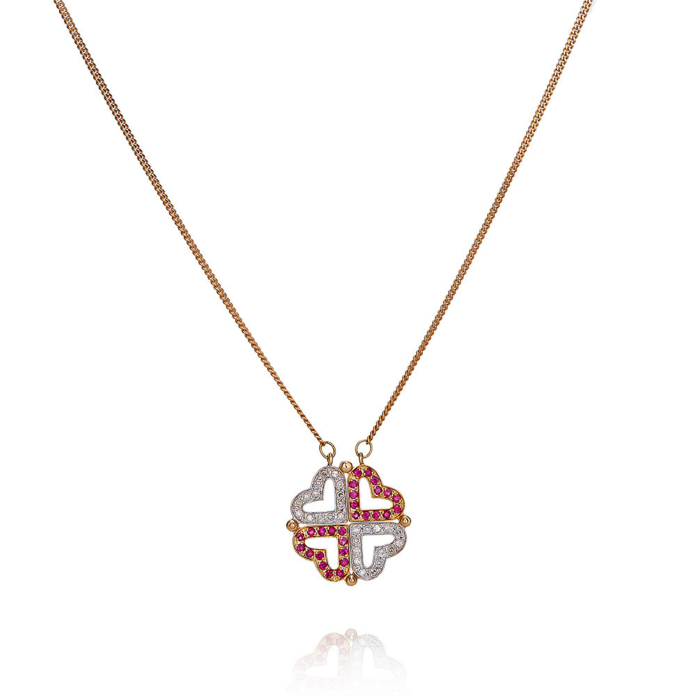 Купить со скидкой Шейное украшение из красного золота 585 пробы с бриллиантом, рубином